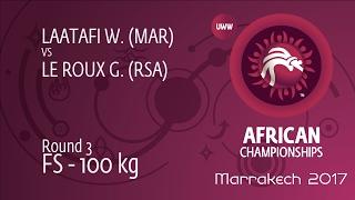 Round 3 FS - 100 kg: G. LE ROUX (RSA) df. W. LAATAFI (MAR) by FALL, 2-0