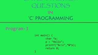 Program-3 | GATE/Interview Question in 'C' Programming