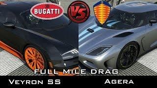 Forza 5 - Full Mile Drag - Bugatti Veyron SS vs Koenigsegg Agera