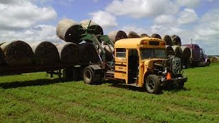 School Bus Turned into Hay Bale Loader on South Dakota Farm