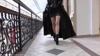 Ballet Heels - Markissa walking at GUM in ballet boots & latex coat