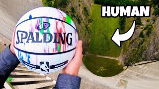 CATCHING BASKETBALLS at TERMINAL VELOCITY from 165m Dam!