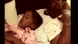Young girl tries to share the word of God with her sleeping father.