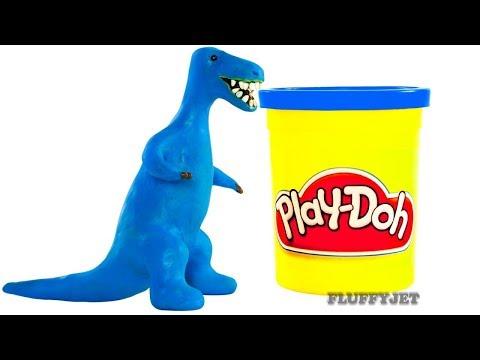T-Rex Dinosaur Cartoon Play Doh Stop Motion Animation video