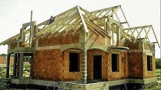 Building industry. Construction of a family house. Full HD  Day 55 56  Rafter framing