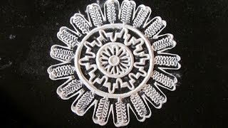 Beautiful and unique flower shaped rangoli pattern - 8   Innovative rangoli designs by Poonam Borkar