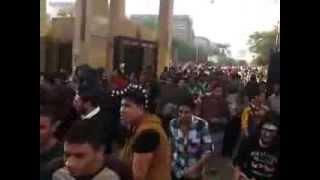 لحظة خروج طلاب جامعة المنصورة من بوابة الجلاء
