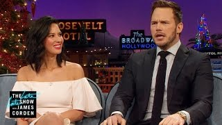 Chris Pratt & James Man Up for Aaron Rodgers & Olivia Munn