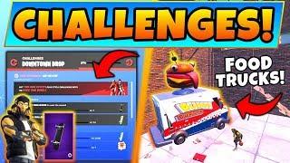 Fortnite DOWNTOWN DROP CHALLENGES GUIDE! - Two Food Trucks, Jordan Skins, & Rewards in Battle Royale