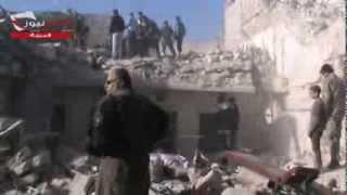 الدمار الذي خلفه القصف على حي المرجة 23/12/2013