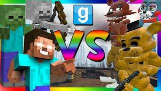 MINECRAFT VS ANIMATRONICS | Gmod Sandbox Fun (Five Nights at Freddy's, Minecraft, Pill Packs)