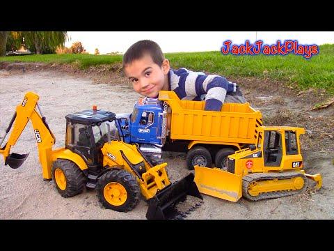 Bruder Toy Trucks for Kids UNBOXING JCB Backhoe Dump Truck Tractor Loader Bulldozer