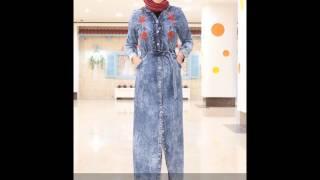 Nakış İşlemeli  Tesettür Kot Elbise Modelleri
