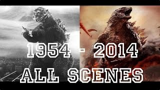 Godzilla all movies [ 1954 to 2014 ] Full scenes and transformations