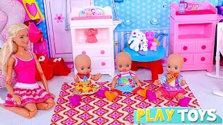 Play with Barbie Girl and Baby Doll Babysitter Toys! 🎀