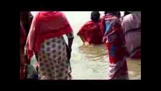 Bangladesi girls are bathing on river Padma at daylight.