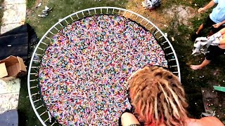TRAMPOLINE VS 10,000 BOUNCY BALLS!! **Most Painful Yet**