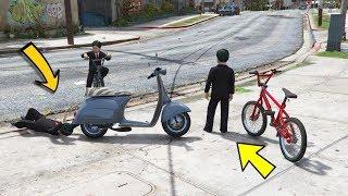 الطفل راح للبحر مع اصحابه ويلعبون بدراجات ضحك #34 || GTA V