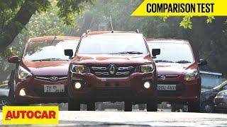 Renault Kwid VS Hyundai Eon VS Maruti Alto 800 | Comparison Test | Autocar India