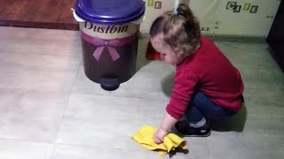 Cute Baby Helps Out With The Cleaning - Baby Lile