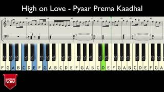 High on Love - Pyaar Prema Kaadhal ( HOW TO PLAY ) MUSIC NOTES