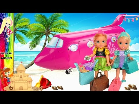 Elsa Airsick Anna and Elsa Toddlers Airplane Flight Barbie Glamour Jet Beach Vacation Toys In Action