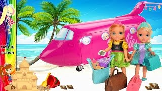 Annia and Elsia Toddlers Airplane Flight - Barbie Glamour Jet - Beach Vacation - Toys and Dolls Anna