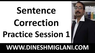 Sentence Correction Practice Session 1 by Team, Dinesh Miglani Tutorials
