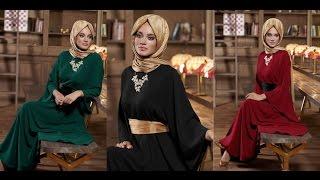 Alvina Giyim 2015 Kış Tesettür Kapalı Elbise Modelleri - Muslima Style Long Winter Dresses
