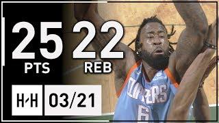 DeAndre Jordan Full Highlights Clippers vs Bucks (2018.03.21) - 25 Pts, 22 Reb!