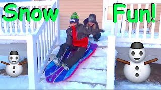⛄️Kids SLEDDING down Stairs in SNOW!👦🏽👧