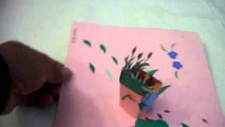3d popup card bird flower vase (mother-in-law)