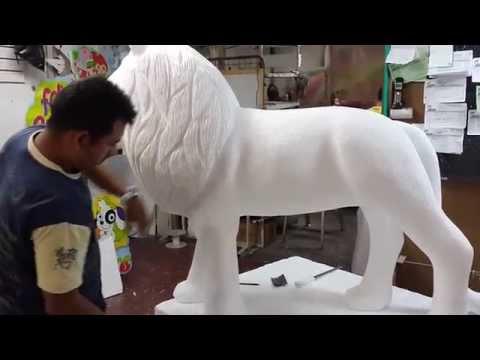 Figura león 3D tallado artes en icopor cristofer cristobal fontecha
