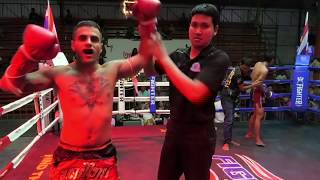 Milo (Sinbi Muay Thai) from Iran fights at Rawai Boxing Stadium and wins by K.O. in round 4