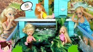 Baby Elsa and Chelsea Put SLIME in Barbie Dolls Pool -  Silly Slime Prank