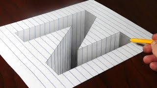 Drawing N Hole in Line Paper - Step by Step 3D Trick Art