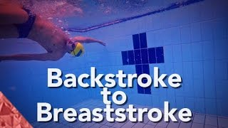 Backstroke to breaststroke swimming transition technique. Individual medley swimming