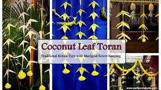 How to make coconut leaf Toran/ Hangings with Marigold