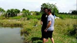 Me throwing a hand grenade into a pond.....boooooom!