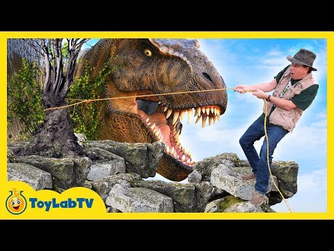 Giant T-Rex Dinosaur Chases Park Ranger Who Rescues Dino Eggs with Nerf Toys
