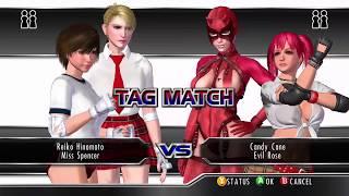 RUMBLE ROSES XX (XBOX 360/ONE) #31  Reiko & Spencer (c)(c) vs Candy Cane(c) & Evil Rose