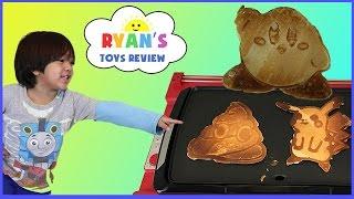 Pancake Art Machine 3D Printer Food Challenge! Surprise Characters Poop Emoji  Kirby Iron man