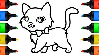 How to Draw Cat Coloring Pages for Kids Drawing Videos Learn Colors for Baby