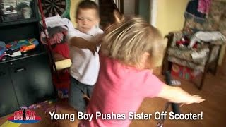 Young Boy Pushes Sister Off Her Scooter! | Supernanny