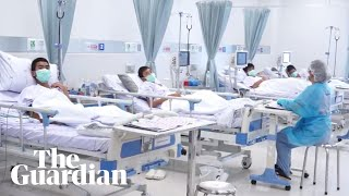 First footage of rescued Thai boys in hospital