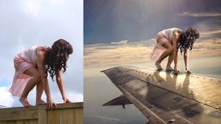Photoshop Manipulation Tutorials Photo Effects | Girl on Plane