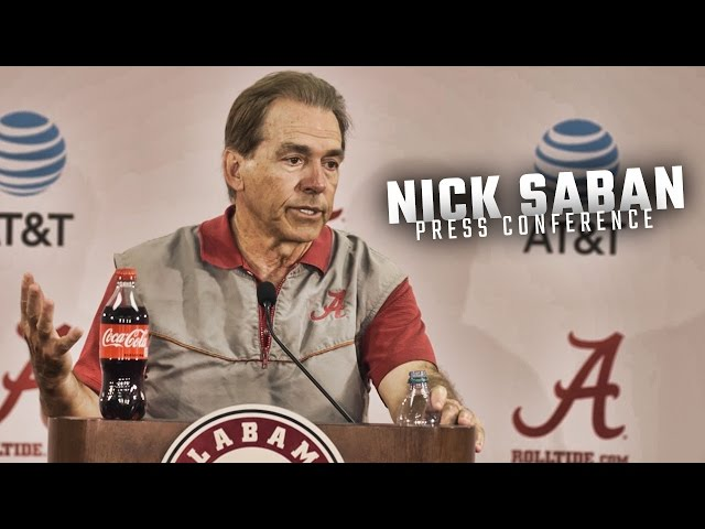 Nick Saban speaks at the first spring practice of 2017