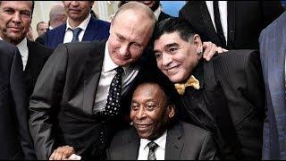 Diego Armando Maradona besa a Pele en histórica foto junto a Vladimir Putin