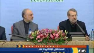Larijani refer to his Iraqi common origins with FM Salehi and tell a jock about nuclear