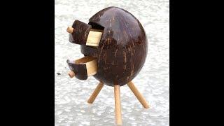 DIY How To Make JEWEL BOX  from Coconut.. Juwelier Box Aus Kokosnuss basteln..